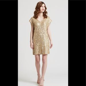Marie Olive Gold Sequin Andi Dress Size Small